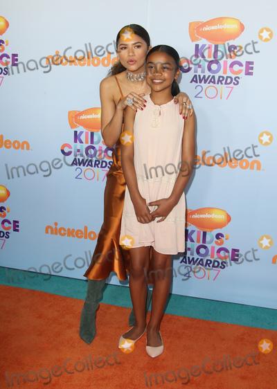 Photo - 11 March 2017 -  Los Angeles, California - Zendaya, Kaylee Stoermer Coleman. Nickelodeon's Kids' Choice Awards 2017 held at USC Galen Center. Photo Credit: Faye Sadou/AdMedia