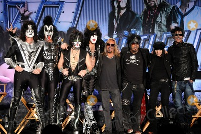 Vince Neil, Tommy Thayer, Tommy Lee, Paul Stanley, Nikki Sixx, Motley Crue, Mick Mars, Kiss, Gene Simmons, Eric Singer Photo - 20 March 2012 - Hollywood, California - Tommy Thayer, Gene Simmons, Eric Singer, Paul Stanley, KISS, Vince Neil, Nikki Sixx, Mick Mars, Tommy Lee, Motley Crue. KISS, Motley Crue: The Tour - Press Conference held at The Hollywood Roosevelt Hotel. Photo Credit: Byron Purvis/AdMedia