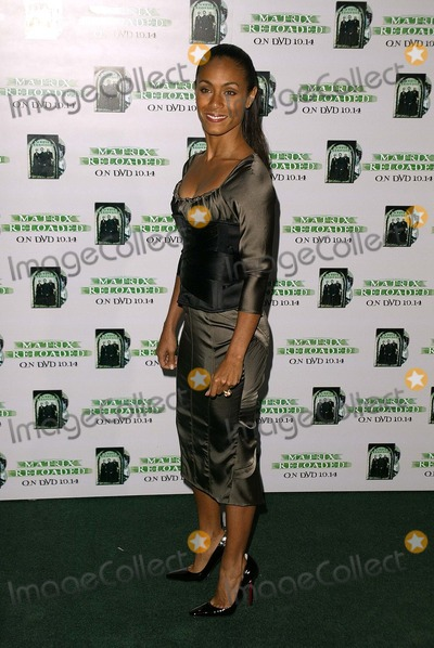 "Jada Pinkett-Smith, Jada Pinkett Smith, The Matrix Photo - Jada Pinkett-Smith at the Warner Home Video worldwide DVD Launch of the year for ""The Matrix Reloaded"" at Morton's, West Hollywood, CA 10-08-03"