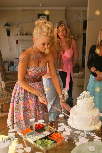 Barbara Moore, Cake Photo - Barbara Moore cuts her Bridal Shower cake