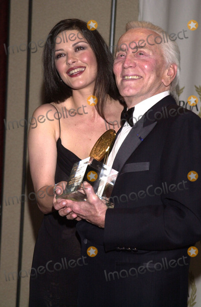 Kirk Douglas, Catherine Zeta-Jones, The Producers Photo -  Catherine Zeta Jones and Kirk Douglas at the 12th Annual Golden Laurel Awards, thrown by the Producers Guild of America, Century Plaza Hotel, Century City, 03-03-01