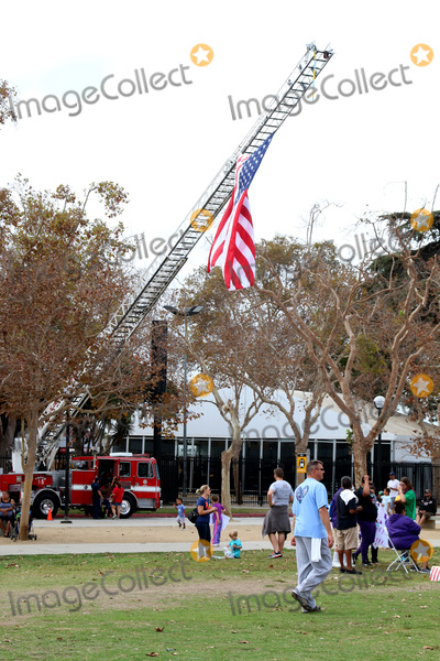 American Flag Photo - LOS ANGELES - OCT 16:  American Flag on Fire Truck, Atmosphere at the ALS Association Golden West Chapter Los Angeles County Walk To Defeat ALS at the Exposition Park on October 16, 2016 in Los Angeles, CA