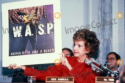 Lyric Photo - Parents Music Resource Center(pmrc) Senate Hearing on Rock Porn : Rock Lyric Censorship, Washington DC 09/19/1985 Photo: James Colburn/ Ipol/ Globe Photos Inc. 1985 Hold in Up an Album of Wasp (animals(f**k Like a Beat)) Paula Hawkins