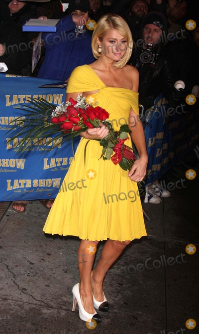 "Paris Hilton, David Letterman, Artie Lange, Artie Lang Photo - Celebrities at a Taping of ""the Late Show with David Letterman"" Date 01-29-008 Photos by John Barrett-Globe Photos,inc Artie Lange Paris Hilton"