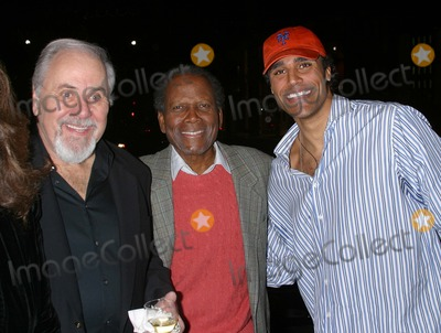 "George Schlatter, Jackie Collins, Rick Fox, Sidney Poitier Photo - Lunch Party For Jackie Collins' New Novel ""Hollywood Divorces"" Chopard, Beverly Hills, California 12/08/03 Milan Ryba/Globe Photos, Inc. 2003 George Schlatter, Sidney Poitier and Rick Fox"