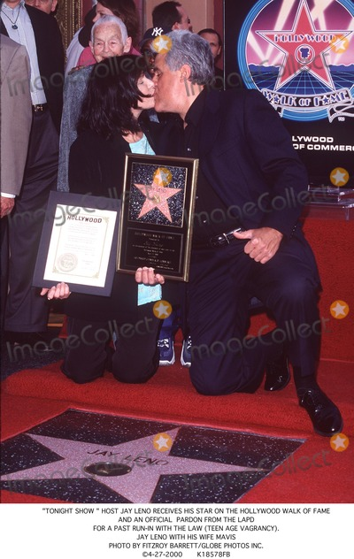 "Jay Leno Photo - ""Tonight Show "" Host Jay Leno Receives His Star on the Hollywood Walk of Fame and an Official Pardon From the Lapd For a Past Run-in with the Law (Teen Age Vagrancy). Jay Leno with His Wife Mavis Photo by Fitzroy Barrett/Globe Photos Inc. 4-27-2000"