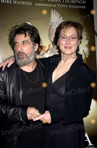 "Al Pacino, Meryl Streep, Meryl  Streep Photo - Premiere of Hbo's Movie ""Angels in America"". the Ziegfeld Theatre, New York City. Photo: John Krondes / Globe Photos Inc 2003 11/4/2003 AL Pacino and Meryl Streep"
