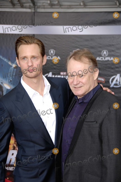 Stellan Skarsgard, Alexander Skarsgard, Alexander Skarsgard- Photo - Alexander Skarsgard and Stellan Skarsgard During the Premiere of the New Movie From Disney Marvel's the Avengers, Held at the El Capitan Theatre, on April 11, 2012, in Los Angeles. Photo: Michael Germana - Globe Photos, Inc.