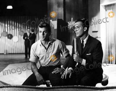 "Dick Clark Photo - Fabian and Dick Clark on ""American Bandstand"" Supplied by Smp/Globe Photos, Inc."