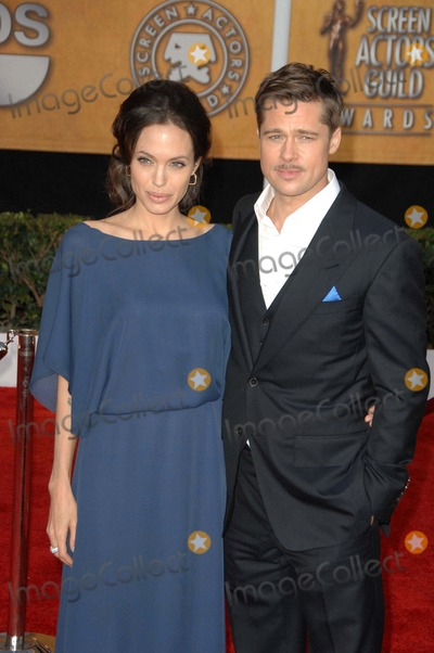Angelina Jolie, Brad Pitt, ANGELINA JOLIE, Photo - The 15th Annual Screen Actors Guild Awards Red Carpet Arrivals, Held at the Shrine Auditorium in Los Angeles California, January 25th, 2009 Photo: David Longendyke - Globe Photos Inc. 2009 Image: K60935dl Angelina Jolie Brad Pitt