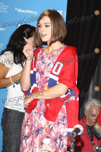 "Keira Knightley Photo - Actress Keira Knightley wears a jersey of hockey team Montreal Canadians attending the press conference of ""A Dangerous Method"" at the Toronto International Film Festival, TIFF, at Bell Lightbox in Toronto, Canada, on 10 September 2011. Photo: Alec Michael"
