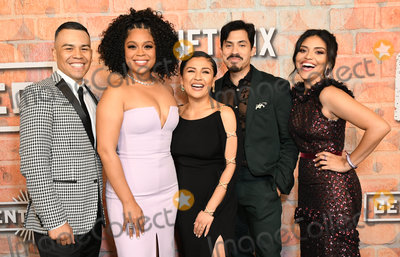 "Karrie Martin, J.J. Soria, Carlos Santos, Julissa Calderon, Annie Gonzalez Photo - 20 February 2020 - Los Angeles, California - J.J. Soria, Julissa Calderon, Annie Gonzalez, Carlos Santos, Karrie Martin. Netflix's ""Gentefied"" Los Angeles Premiere held at the Plaza De La Raza. Photo Credit: Birdie Thompson/AdMedia"