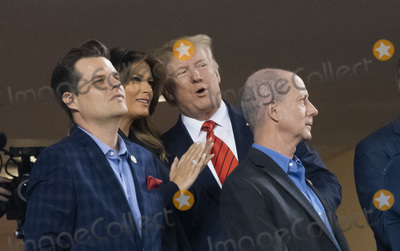 Donald Trump, Melania Trump, TI, Matt Gaetz Photo - United States Representative Matt Gaetz (Republican of Florida), US President Donald J. Trump and First lady Melania Trump attend game five of the World Series at Nationals Park in Washington DC on October 27, 2019. The Washington Nationals and Houston Astros are tied at two games going into tonight's game. Credit: Chris Kleponis / Pool via CNP/AdMedia