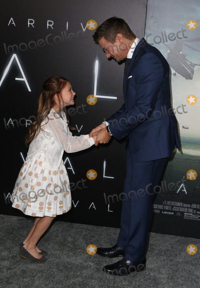 "Jeremy Renner, Abigail Pniowsky Photo - 06 November 2016 -  Westwood, California - Abigail Pniowsky, Jeremy Renner. Premiere Of Paramount Pictures' ""Arrival"" held at The Regency Village Theatre. Photo Credit: AdMedia"