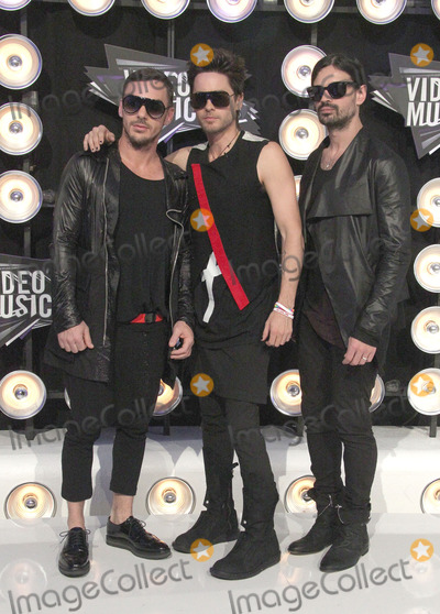 Jared Leto, Shannon Leto, Tomo Milicevic, 30 Seconds to Mars Photo - 28 August 2011 - Los Angeles, California - Jared Leto (C) Shannon Leto (R) and Tomo Milicevic of 30 Seconds to Mars. 28th Annual MTV Video Music Awards held at Nokia Theatre L.A. Live. Photo Credit: Russ Elliot/AdMedia