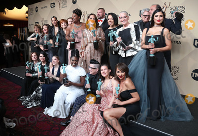 Dascha Polanco, Taryn Manning, Danielle Brooks, Uzo Aduba, Yael Stone, Samira Wiley, Julie Lake, Kimiko Glenn, Jessica Pimentel, Abigail Savage, Emily Althaus, Alan Aisenberg Photo - 29 January 2017 - Los Angeles, California - Danielle Brooks, Lea DeLaria, Yael Stone, Abigail Savage, James McMenamin, Emily Althaus, Alan Aisenberg, Kimiko Glenn, Samira Wiley, Julie Lake, Uzo Aduba, Jessica Pimentel, Dascha Polanco, Taryn Manning. 23rd Annual Screen Actors Guild Awards held at The Shrine Expo Hall. Photo Credit: F. Sadou/AdMedia