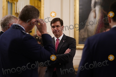 US Army, The Ceremonies, White House, Thomas Payne, The White Photo - United States Secretary of Defense Dr. Mark T. Esper attends the ceremony where US President Donald J. Trump presented the Medal of Honor to Sergeant Major Thomas Payne, US Army, in the East Room of the White House in Washington, DC on September 11, 2020. Payne is the 1st living Delta Force member to receive the Medal of Honor. Credit: Chris Kleponis / Pool via CNP/AdMedia