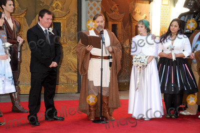 """TCL Chinese Theatre, Andrew Porters, Shawn Crosby, Caroline Ritter Photo - 17 December 2015 - Hollywood, California - Caroline Ritter, Shawn Crosby, Andrew Porters. Fans Get Married With """"Star Wars"""" Themed Wedding held at the TCL Chinese Theatre IMAX. Photo Credit: Byron Purvis/AdMedia"""