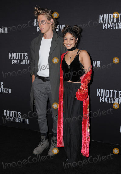 Vanessa Hudgens, Austin Butler, Vanessa  Hudgens, Vanessa Larré Photo - 30 September 2016 - Buena Park, California. Austin Butler, Vanessa Hudgens . Knott's Scary Farm Black Carpet Party held at  Knott's Berry Farm. Photo Credit: Birdie Thompson/AdMedia