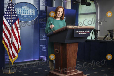 White House, The White Photo - -White House Press Secretary Jen Psaki talks to reporters during the daily press briefing in the Brady Press Briefing Room of the White House on Tuesday, April 6, 2021 in Washington, DC.Credit: Oliver Contreras / Pool via CNP/AdMedia