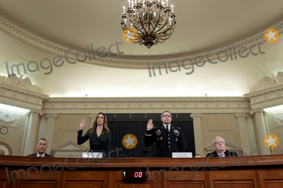 Donald Trump, Third Day, Jennifer Williams, Mike Pence, Alexander Vindman Photo - WASHINGTON, DC - NOVEMBER 19: Lt. Col. Alexander Vindman (R), National Security Council Director for European Affairs and Jennifer Williams (L), adviser to Vice President Mike Pence for European and Russian affairs, are sworn in prior to testifying before the House Intelligence Committee in the Longworth House Office Building on Capitol Hill November 19, 2019 in Washington, DC. The committee heard testimony during the third day of open hearings in the impeachment inquiry against U.S. President Donald Trump, who House Democrats say withheld U.S. military aid for Ukraine in exchange for Ukrainian investigations of his political rivals. Credit: Chip Somodevilla / Pool via CNP/AdMedia