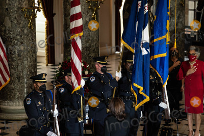 Alcee Hastings Photo - A United States Capitol Police Honor Guard present the colors at the start of a ceremony celebrating the life of the late US Representative Alcee Hastings (Democrat of Florida), in Statuary Hall of the Capitol in Washington DC on April 21st, 2021.Credit: Anna Moneymaker / Pool via CNP/AdMedia