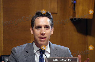 Josh Hawley Photo - United States Senator Josh Hawley (Republican of Missouri, asks questions during a hearing of the Senate Judiciary Subcommittee on Privacy, Technology, and the Law, at the U.S. Capitol in Washington DC, on Tuesday, April 27, 2021.  The committee will hear testimony about social media platforms' use of algorithms and amplification. Credit: Tasos Katopodis / Pool via CNP/AdMedia