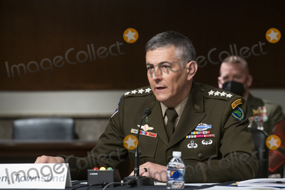 Photo - General Stephen Townsend, Commander United States Africa Command, appears before a Senate Committee on Armed Services hearing to examine United States Central Command and United States Africa Command in review of the Defense Authorization Request for fiscal year 2022 and the Future Years Defense Program, in the Dirksen Senate Office Building in Washington, DC, Thursday, April, 22, 2021. Credit: Rod Lamkey / CNP/AdMedia