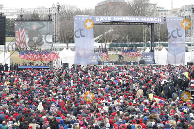 Joe Biden Photo - US President Donald J. Trump delivers remarks to supporters gathered to protest Congress' upcoming certification of Joe Biden as the next president on the Ellipse in Washington, DC, USA, 06 January 2021. Various groups of Trump supporters are gathering to protest as Congress prepares to meet and certify the results of the 2020 US Presidential election.Credit: Shawn Thew / Pool via CNP/AdMedia