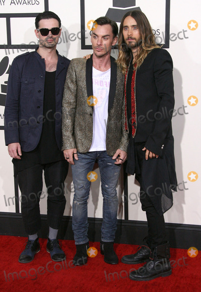 Jared Leto, Shannon Leto, Tomo Milicevic, 30 Seconds to Mars, Grammy Awards Photo - 26 January 2014 - Los Angeles, California - Tomo Milicevic, Shannon Leto, Jared Leto, 30 Seconds To Mars. 56th GRAMMY Awards held at the Staples Center. Photo Credit: AdMedia