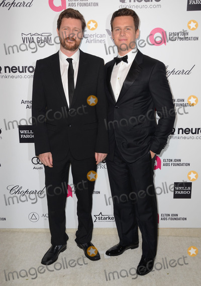 Elton John, Jonathan Groff, Andrew Haigh Photo - 22 February 2015 - West Hollywood, California - Andrew Haigh, Jonathan Groff. 23rd Annual Elton John Academy Awards Viewing Party sponsored by Chopard, Neuro Drinks and Wells Fargo held at West Hollywood Park. Photo Credit: Birdie Thompson/AdMedia