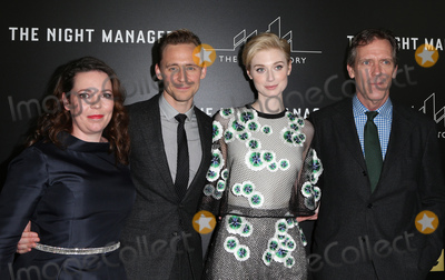 "Hugh Laurie, Tom Hiddleston, Olivia Coleman, Tom Hiddlestone, Tom   Hiddleston, Elizabeth Debicki Photo - 05 April 2016 - West Hollywood, Olivia Coleman, Tom Hiddleston, Elizabeth Debicki, Hugh Laurie. Premiere Of AMC's ""The Night Manager"" at The DGA Theater. Photo Credit: F.Sadou/AdMedia"