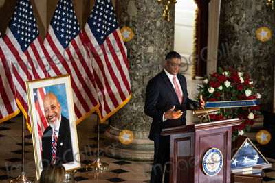 The Ceremonies, White House, The White, Alcee Hastings Photo - Cedric Richmond, Senior Advisor to the President and director of the White House Office of Public Engagement speaks at the ceremony celebrating the life of the late US Representative Alcee Hastings (Democrat of Florida) in Statuary Hall of the Capitol in Washington DC on April 21st, 2021.Credit: Anna Moneymaker / Pool via CNP/AdMedia