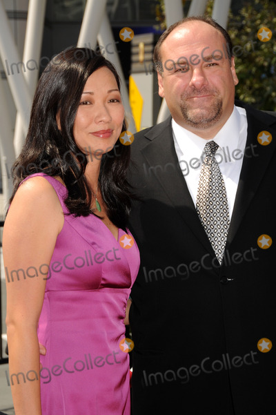 "The Sopranos, Deborah Lin, James Gandolfini Photo - 19 June 2013 - ""The Sopranos"" star James Gandolfini has died at the age of 51. According to multiple sources, the three-time Emmy winner suffered a heart attack while on vacation in Italy. File Photo: 13 September 2008 - Los Angeles, California - James Gandolfini and wife Deborah Lin. 60th Annual Primetime Creative Arts Emmy Awards - Arrivals at the Nokia Theatre. Photo Credit: Byron Purvis/AdMedia"