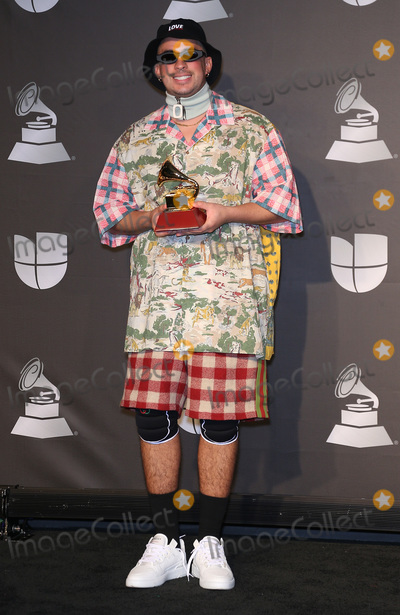 Bad Bunny, Grammy Awards Photo - 14 November 2019 - Las Vegas, NV - Bad Bunny. 2019 Latin Grammy Awards Press Room at MGM Grand Garden Arena. Photo Credit: MJT/AdMedia