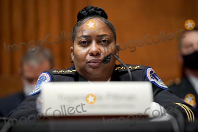 Photo - Acting United States Capitol Police Chief Yogananda Pittman is seen during a Senate Appropriations Subcommittee hearing to examine the FY 2022 budget request for the Architect of the Capitol, Senate Sergeant of Arms and the U.S. Capitol Police on Wednesday, April 21, 2021 at the U.S. Capitol in Washington, D.C.Credit: Greg Nash / Pool via CNP