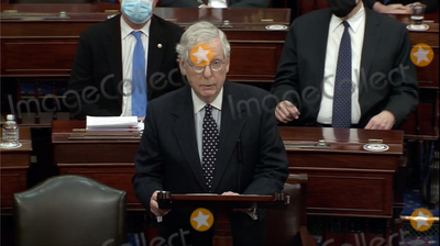 Trump Impeachment, The Used Photo - In this image from United States Senate television, United States Senate Majority Leader Mitch McConnell (Republican of Kentucky) makes remarks as the US Senate reconvenes to resume debate on the Electoral Vote count following the violence in the US Capitol in Washington, DC on Wednesday, January 6, 2021.Mandatory Credit: US Senate Television via CNP/AdMedia