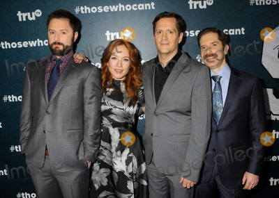"MARIA THAYER, Ben Roy, Andrew Orvedahl, Adam Cayton-Holland Photo - 28 January 2016 - Los Angeles, California - Adam Cayton-Holland, Maria Thayer, Ben Roy, Andrew Orvedahl. ""Those Who Can't"" Series Premiere held at The Wilshire Ebell Theatre. Photo Credit: Byron Purvis/AdMedia"
