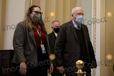 The Used, Patrick Leahy, Trump Impeachment Photo - United States Senator Patrick Leahy (Democrat of Vermont), President pro tempore of the US Senate, wears a protective mask while walking through the U.S. Capitol in Washington, D.C., U.S. on Saturday, Feb. 13, 2021. Credit: Ting Shen - Pool via CNP/AdMedia
