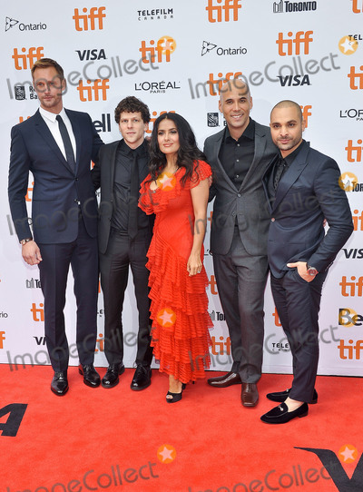 "Jesse Eisenberg, Princess of Wales, Salma Hayek, Wale, Alexander Skarsgrd, Kim Nguyen, Michael Mando Photo - 08 September 2018 - Toronto, Ontario, Canada - Alexander Skarsgrd, Jesse Eisenberg, Salma Hayek, Kim Nguyen and Michael Mando. ""The Hummingbird Project"" Premiere - 2018 Toronto International Film Festival held at the Princess of Wales Theatre. Photo Credit: Brent Perniac/AdMedia"