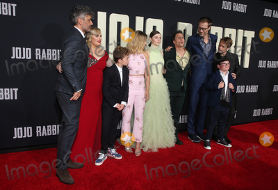 "Alfie Allen, JoJo, Sam Rockwell, Scarlett Johansson, Stephen Merchant, Taika Waititi, Rebel Wilson, Carthew Neal, Archie Yates, Archie Yate, Chelsea Winstanley Photo - 15 October 2019 - Los Angeles, California - Chelsea Winstanley, Carthew Neal, Taika Waititi, Rebel Wilson, Roman Griffin Davis, Scarlett Johansson, Thomasin McKenzie, Sam Rockwell, Stephen Merchant, Archie Yates, Alfie Allen. Premiere Of Fox Searchlights' ""Jojo Rabbit"" held at Post 43. Photo Credit: FayeS/AdMedia"