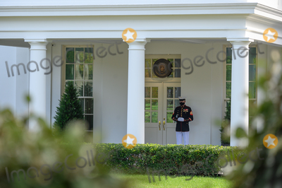 Donald Trump Photo - A Marine is posted outside the West Wing, signifying that U.S. President Donald Trump is inside, in Washington, D.C., U.S., on Friday, October 9, 2020. Credit: Erin Scott / Pool via CNP/AdMedia