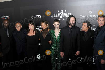 """Angelica Huston, Halle Berry, Hanson, Keanu Reeves, John Wicks Photo - Angelica Huston, Keanu Reeves, Halle Berry and cast at the World  Premiere of """"John Wick: Chapter 3 Parabellum"""", held at One Hanson in Brooklyn, New York, USA, 09 May 2019"""