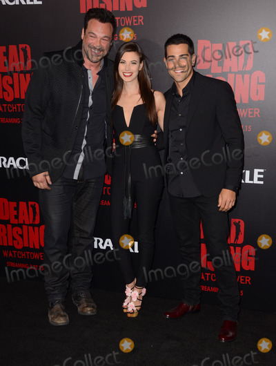 """Jesse Metcalfe, Kim Novak, Jesse Metcalf, Aleks Paunovic, Meghan Ory Photo - 11 March 2015 - Los Angeles, California - Aleks Paunovic, Meghan Ory, Jesse Metcalfe.  Arrivals for Crackle's world premiere original feature film """"Dead Rising: Watchtower"""" held at the Kim Novak Theater at Sony Pictures Studios. Photo Credit: Birdie Thompson/AdMedia"""