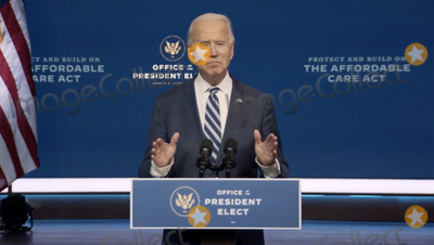 Joe Biden, Queen Photo - In this image from the Biden Presidential Transition video feed, United States President-elect Joe Biden makes a statement on the Affordable Care Act at the Queen Theatre in Wilmington, Delaware on Tuesday, November 10, 2020.