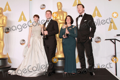 Chris Pratt, Felicity Jones, Adam Stockhausen, Anna Pinnock, Anna Maria Perez de Taglé Photo - 22 February 2015 - Hollywood, California -(L-R) Actress Felicity Jones, Adam Stockhausen, Anna Pinnock, winners of the Best Production Design Award for 'The Grand Budapest Hotel', and presentor Chris Pratt pose in the press room during the 87th Annual Academy Awards presented by the Academy of Motion Picture Arts and Sciences held at the Dolby Theatre. Photo Credit: Theresa Bouche/AdMedia