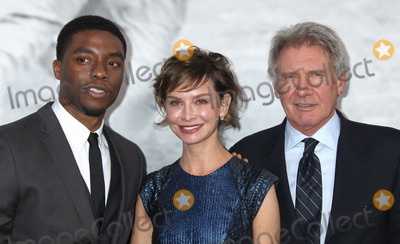 """Calista Flockhart, Harrison Ford, Chadwick Boseman, TCL Chinese Theatre Photo - 09 April 2013 - Hollywood, California - Chadwick Boseman, Calista Flockhart, Harrison Ford. """"42"""" Los Angeles Premiere held at the TCL Chinese Theatre. Photo Credit: Russ Elliot/AdMedia"""