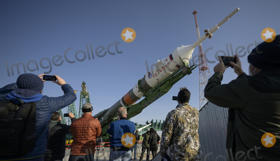Train Photo - The Soyuz rocket is raised vertical after having rolled out by train to the launch pad at Site 31, Tuesday, April 6, 2021, at the Baikonur Cosmodrome in Kazakhstan. Expedition 65 NASA astronaut Mark Vande Hei, Roscosmos cosmonauts Pyotr Dubrov and Oleg Novitskiy are scheduled to launch aboard their Soyuz MS-18 spacecraft on April 9.  Mandatory Credit: Bill Ingalls / NASA via CNP/AdMedia