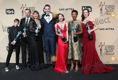 Samira Wiley, Julie Lake, Kimiko Glenn, Abigail Savage, Emily Althaus, Alan Aisenberg Photo - 29 January 2017 - Los Angeles, California - Abigail Savage, James McMenamin, Emily Althaus, Alan Aisenberg, Kimiko Glenn, Samira Wiley, and Julie Lake, co-recipients of the Outstanding Performance by an Ensemble in a Comedy Series award for 'Orange Is the New Black,'. 23rd Annual Screen Actors Guild Awards held at The Shrine Expo Hall. Photo Credit: F. Sadou/AdMedia