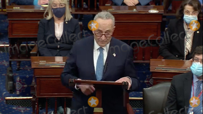 Trump Impeachment, Chuck Schumer, The Used Photo - In this image from United States Senate television, US Senate Minority Leader Chuck Schumer (Democrat of New York) makes remarks as the US Senate reconvenes to resume debate on the Electoral Vote count following the violence in the US Capitol in Washington, DC on Wednesday, January 6, 2021.Mandatory Credit: US Senate Television via CNP/AdMedia